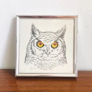 Vintage Wall Art - Vintage stapco ny litho owl art
